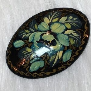 Vintage Hand Painted Signed Pin